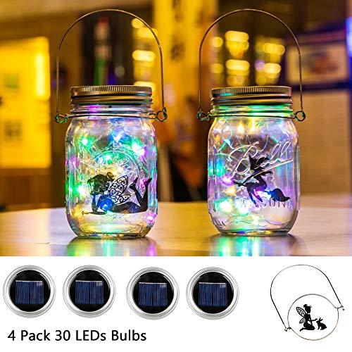 (UPSTONE Solar Mason Jar Lid Light(Handle/Fairy Sticker Included),4 Pack 30Led String Fairy Lights, Decor Idea for Mason Jar,Patio Garden Solar Fairy Laterns Table Lights(No)