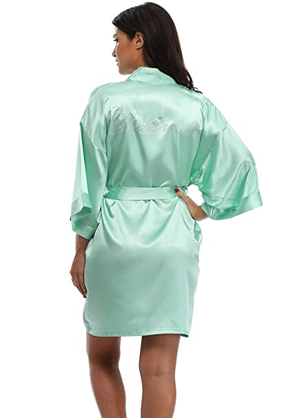 The Bund Women s Short Kimono Robes for Bridesmaid Aquamarine XS Size 76a37ef0a