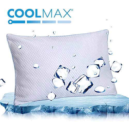 Cooling Shredded Memory Foam Bed Pillow for Sleeping- Adjustable to Thick Thin - Pillow for Side Back Sleepers with Cool Breathable Cotton Case - Soft Firm Support for Therapeutic Neck Pain, King Size