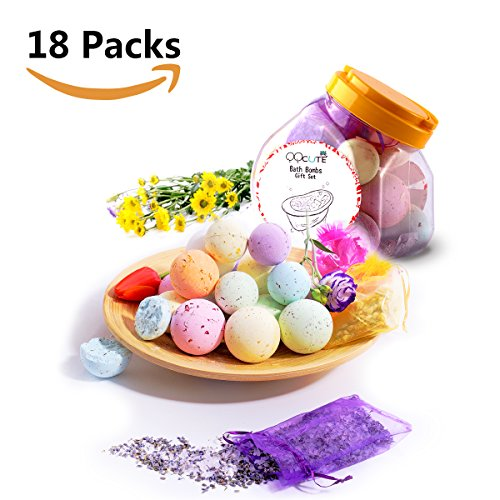 QQcute Bath Bombs Kit Family Spa Set,Pack of 18 Lush Fizzies with Natural Essential Oils for Moisturizing Dry Skin,3 Organic Dried Flower Petals Bags,Add to Bubble Bath,Basket,Bath Beads