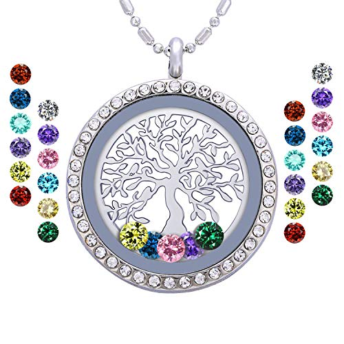 Birthstone Family Tree of Life Necklace, Floating Charm Living Memory Locket with 24 Birthstone & 2 Family Tree Plate DIY Pendant Gifts (Tree of Life A01)