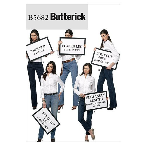 - BUTTERICK PATTERNS B5682 Misses' Jeans and Trousers, Size A5 (6-8-10-12-14)