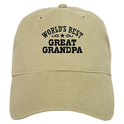 CafePress World's Best Great Grandpa Baseball Cap with Adjustable Closure, Unique Printed Baseball Hat Khaki