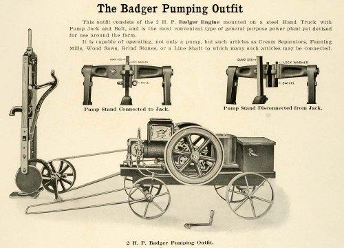 1912 Ad Antique Badger Pumping Outfit Engine Pump Belt Hand Truck Farm Equipment - Original Print Ad