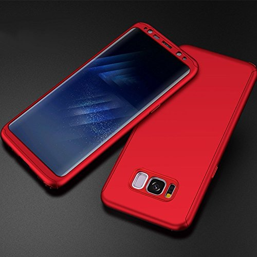 Price comparison product image Samsung Galaxy S8 Case,IKASEFU 360 Full Body Protection Hard Slim Case for Back Shockproof Luxury Sleek Cute Shiny PC Cover Ultra Thin Bumper Protective Cover for Samsung Galaxy S8,red