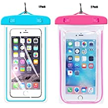 [1Pack Blue+2Pack pink] Universal Waterproof Phone Case Dry Bag CaseHQ for iPhone 7,7plus,8,8 plus,5/6/6s/6plus/6splus Samsung Galaxy s5/s6 s7,s8,s8plus etc. Snow Proof for Cell Phone up to 5.8 inches