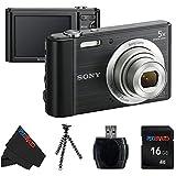 Sony W800/B 20.1 MP Digital Camera (Black) + 16GB Pixi-Basic Accessory Bundle