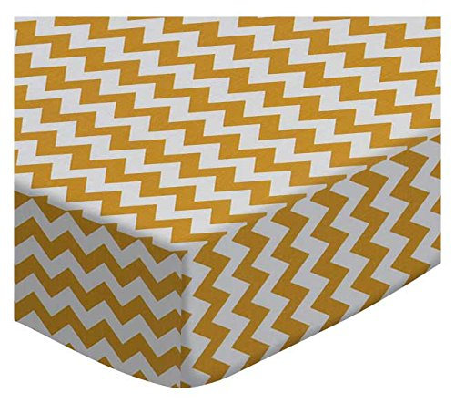 SheetWorld Extra Deep Fitted Portable Mini Crib Sheet - Gold Chevron Zigzag - Made In USA by SHEETWORLD.COM