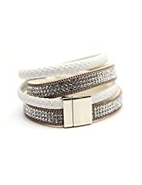 M&B Womens White and Crystal Cuff Bracelet with Gold Accent and Magnetic Closure