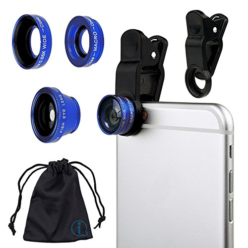 Blue Clip On 180 Degrees Portable 3 in 1 Camera Lens Kit - FishEye - Wide Angle - Macro for LG E900 Optimus 7