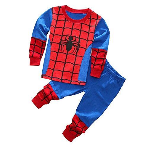 (Meteora Boys Pajamas Kids Short Sets 100% Cotton Clothes Cartoon Sleepwears (Spiderman, 3-4T))
