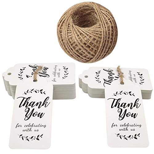 Father's Day Gift Tags-Thank You for Celebrating with Us,100 Pcs Paper Tags with 100 Feet Jute Twine for Wedding,Birthday,Baby Shower Party Favors (Leaves White) ()