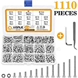 VIGRUE 1110PCS Stainless Steel M3 Socket Head Cap Screws and Nuts Flat Washer Assortment Kit with Allen Wrench and Tip Curved Tweezer (Color: Silver)