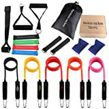 ICODE Sports Resistance Band Set with 9 Best Quality Bands ,Door Anchor, Handles, Ankle Strap, and Wrist Support Perfect for Fitness Gym Exercise Training (16 pieces set)