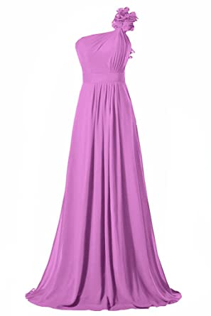 HONGFUYU Womens One Shoulder Chiffon Bridesmaid Dress Prom Dress Long Evening Dresses Lilac UK14