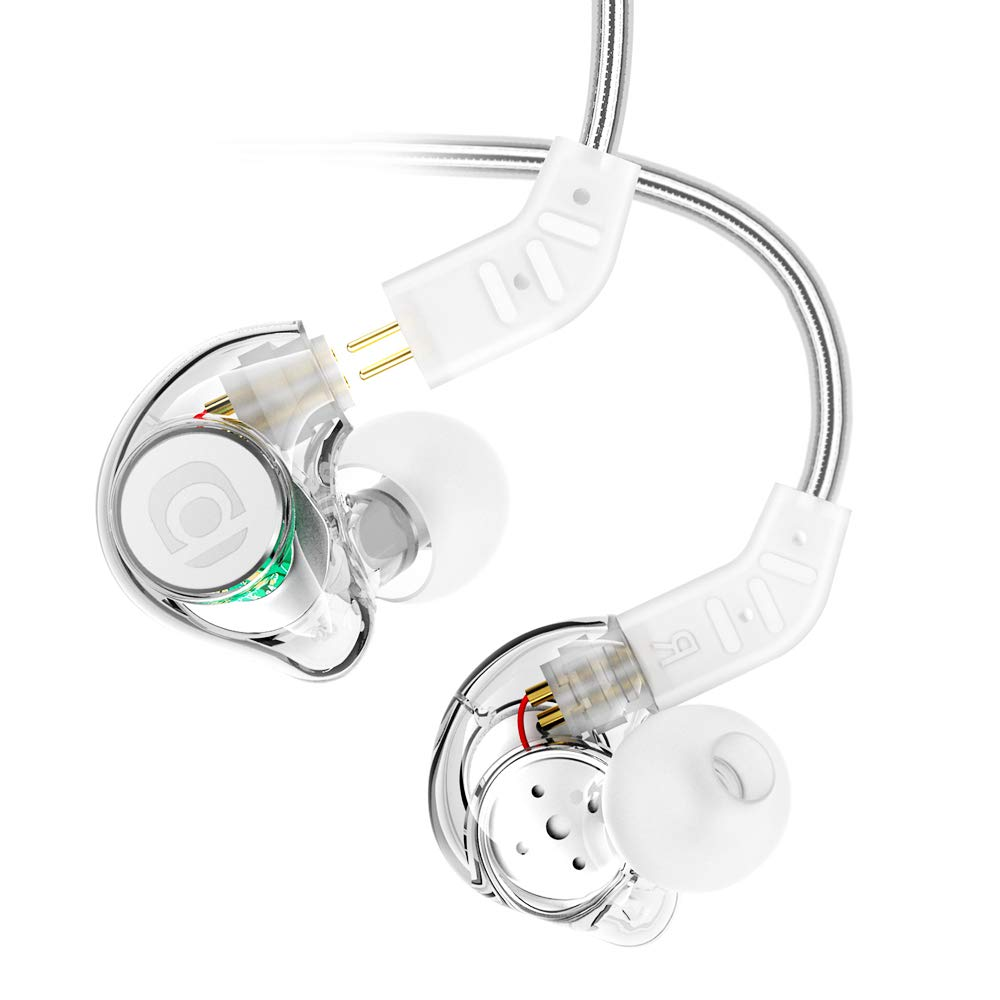 in Ear Monitor, Adorer IM8 Universal-Fit in Ear Headphones with Microphone Noise Isolating, Detachable Cables, Memory Wire – Transparent