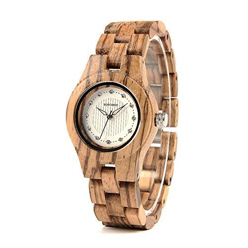 Lightwight Women Watches Handmade Analog Quartz Wooden Watch Diamond-Decorated Dial (Friendly Diamond Dial Eco)