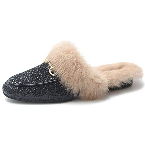 9872f3ef268 Amazon.com  Women Warm Outside Slippers Faux Fur Bling Sequin Mules Flats  Casual Slip-on Winter Loafer  Sports   Outdoors