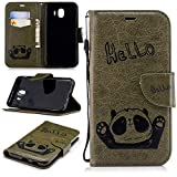 Misteem Cartoon Case for Samsung Galaxy J4 2018, Cute Retro Panda Pattern Leather Cases Flip Shockproof with Card Holder Bookstyle / Stand / Magnetic Wallet Cover Protector for Samsung Galaxy J4 2018 - Panda Green Army