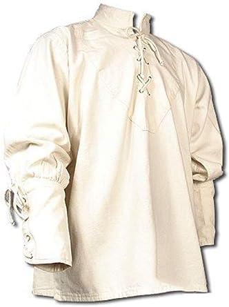 Camisa de Vendaje Vintage Medieval para Hombre Camisa de Cuello Abuelo de Manga Larga gótica: Amazon.es: Ropa y accesorios