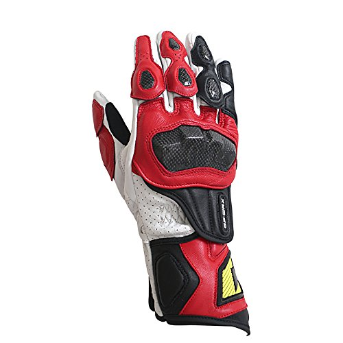 GP-Pro Men's Carbon Fiber Motorcycle Gloves Genuine Leather Racing Gloves M,L,XL (Red, X-Large)