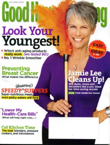 Good Housekeeping October 2010 Jamie Lee Curtis on Cover, Easy Halloween Ideas, Look Your Youngest, Preventing Breast Cancer, Speedy Suppers, Cut Kitchen