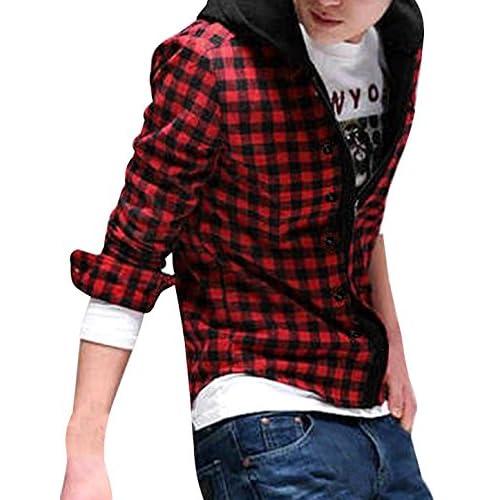 6921ffda0fe6 Allegra K Men Contrast Check Pattern Button Decor Zip Up Hooded Shirt hot  sale