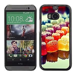 Caucho caso de Shell duro de la cubierta de accesorios de protección BY RAYDREAMMM - HTC One M8 - Colorido del caramelo del arco iris