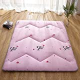 GJFLife Floor Hypoallergenic Tatami Mattress Topper Collapsible Mat, Breathable Polyester Sleeping pad Japanese Futon Protector Cover-Q 90x200x4cm