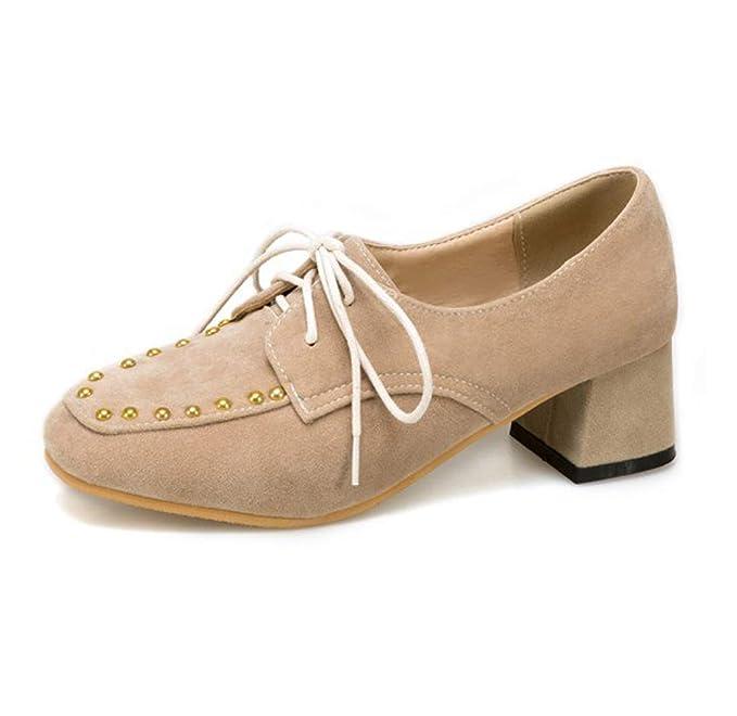 SERAPH 780 Las Mujeres Remache Mid Bloque Talón Zapatos De Pie Cuadrado De Encaje Mocasines Zapatos De Buey: Amazon.es: Ropa y accesorios