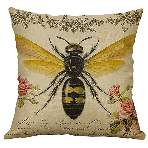 HKDGID Modern Living Series Throw Pillow Covers, Eco-Friendly Classic Hardworking Bee Print Throw Cushion Pillow Covers Popular for Home Couch Sofa Bed Decoration 18'' x 18''