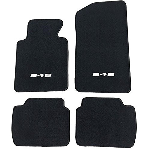 Floor Mat Fits 1999-2005 BMW E46 Logo 3-Series | Factory Fitment Floor Mats Carpet Front & Rear Nylon by IKON MOTORSPORTS | ?2000 2001 2002 2003 2004 (2005 Bmw 3 Series Coupe)
