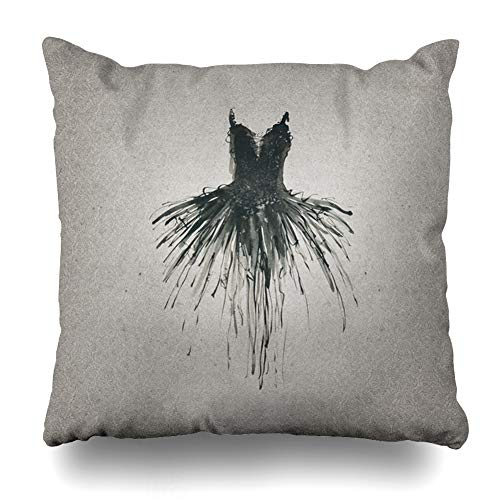 Ahawoso Throw Pillow Cover Dress White Drawing Black Costume Swan Ball Ballerina Ballet Artistic Design Dance Home Decor Pillowcase Square Size 20