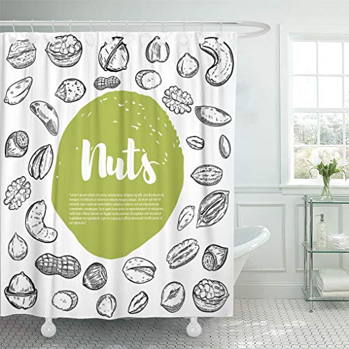 Emvency Shower Curtain White Nutshell Cashew Hazelnut Walnut Pistachio Pecan Nuts Sketches Design for Sketch Shower Curtains Sets with Hooks 72 x 72 Inches Waterproof Polyester Fabric