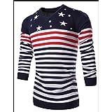KingField Men's V-neck Pentagram Stripe Printing Patchwork Sweater