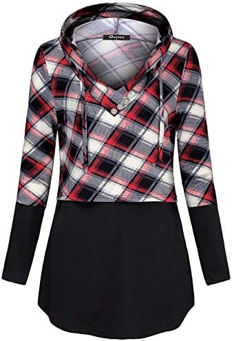 Quinee Women's Long Sleeve Plaid Colorblock Nursing Pullover Hoodie Sweatshirts