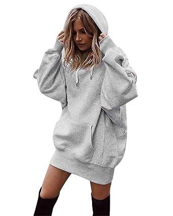 f1c13354682 Minetom Femme Mini Robe Pull Sweat À Capuche Casual Manches Longue  Kangourou Poches Automne Hiver Mode