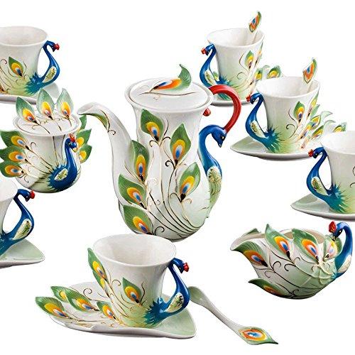 Peacock Coffee Mug Set European Teapot Luxury Coffee Mug/Tea Mug 15-piece Coffee Set Tea Set Tea Service For Wedding Gift Green