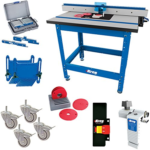 - Kreg PRS1045 (KRS1035, PRS1025, PRS1015) Router Table with PRS3090 Caster, PRS3020 True-Flex, PRS3100 Router Table Switch, PRS3400 Set-Up Bars, and KRS7850 Router Table Stop