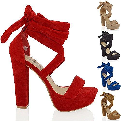 Essex Glam womens faux suede tie up high block heel sandals