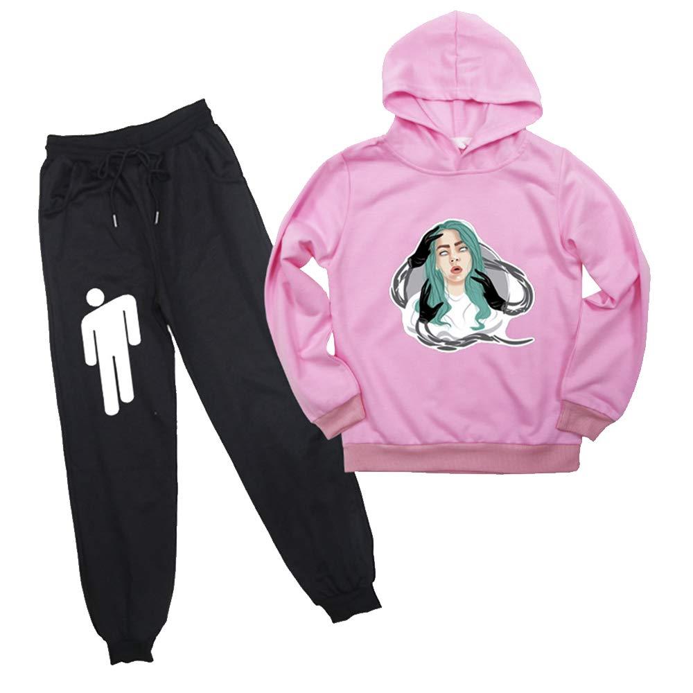Sudadera Billie Eilish Ni/ña Conjunto Sudadera Billie Eilish Ni/ño Adolescente Chicas Impresi/ón Sudaderas y Pantalones de Deporte Casual Su/éter Billie Eilish Streetwear Jerseys