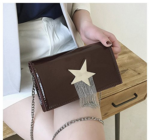 Chain Darkbrown Female Casual Messenger Rrock Black Bag Bag Bright Small Tassel Bag Square Bag q6OP6T