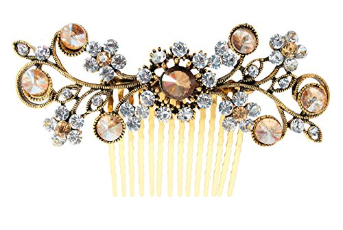 Vogue Hair Accessories Antique Plated Exclusive Collection Wedding Party Fancy Bridal Comb Hair Clip, Gold