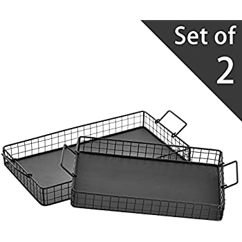 Black Metal Wire Nesting Serving Trays, Decorative Storage Baskets with Handles, Set of 2