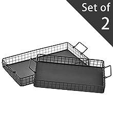 Black Galvanized Metal Wire Nesting Serving Trays, Decorative Storage Baskets with Handles, Set of 2
