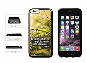 Psalm 149-4 Bible Verse on Green Floral Background TPU RUBBER SILICONE Phone Case Back Cover Apple iphone 5c ( es screen) includes fashion case Cloth and Warranty Label