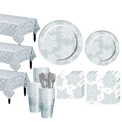 Party City Shining Season Tableware Kit for 50 Guests, Christmas Party Supplies, Includes 3 Table Covers -