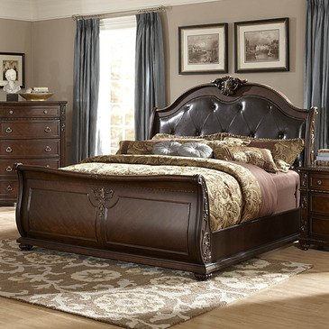 (Homelegance Hillcrest Manor Leather Sleigh Bed In Rich Cherry - Eastern)