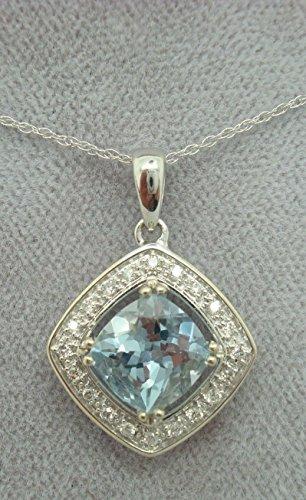 14K Gold 1.36ct Cushion Cut Genuine Natural Aqua Pendant with Diamonds (#2099)
