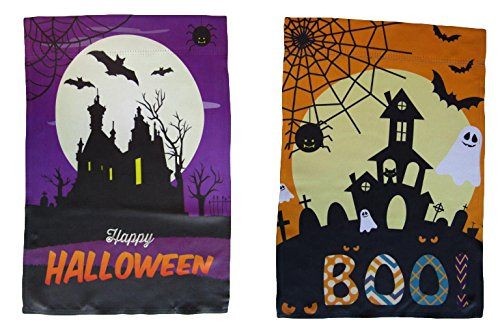 ALBATROS 12 inch x 18 inch Happy Halloween #4 Vertical Sleeve Flag for Garden for Home and Parades, Official Party, All Weather Indoors Outdoors -